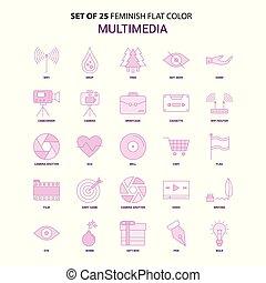 Set of 25 Feminish Multimedia Flat Color Pink Icon set