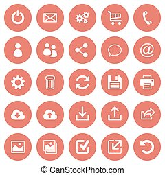 Set of 25 flat web icons