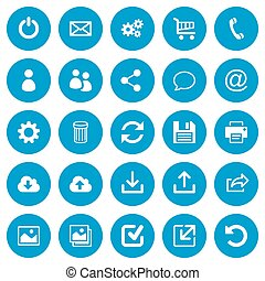 Set of 25 flat web icons