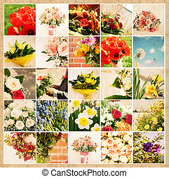 Set of 25 floral pictures on grunge old paper