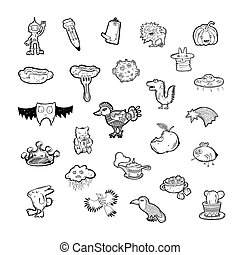 set of 25 hand drawing sketch icon doodle objects and animals