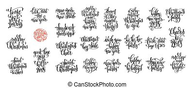 set of 25 hand lettering christmas quotes design