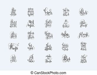 set of 25 hand lettering inscriptions about travel to Paris Fran