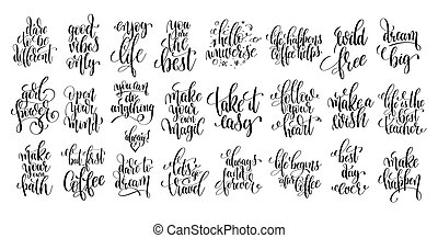 set of 25 hand lettering positive quote