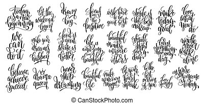 set of 25 hand written lettering motivational quotes,...