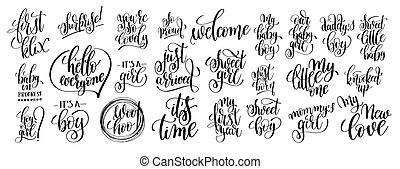 set of 25 hand written lettering to pregnancy and little baby bo