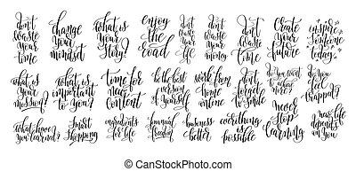 set of 25 handwritten lettering motivation positive quote about