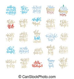 set of 25 merry christmas and happy new year hand lettering