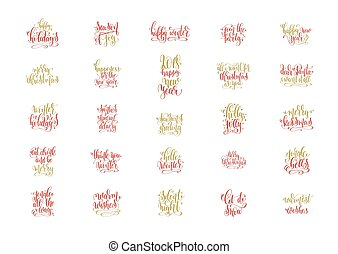 set of 25 red and gold hand lettering merry christmas