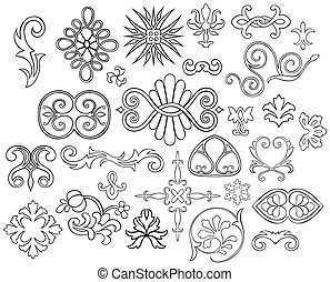 27 stylized outlined motifs and fl - Set of 27 stylized...