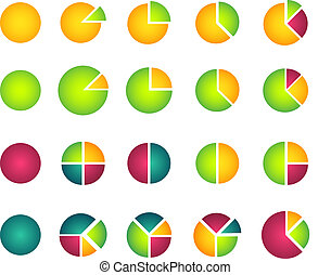 Set of isolated 2D pie diagrams
