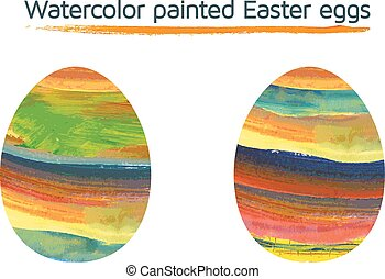 Set of 2l watercolor painted Easter
