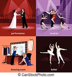 Set Of 2x2 Theater Images - People on theater scenes...