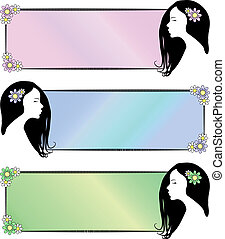 Set of 3 banners of beautiful exotic woman