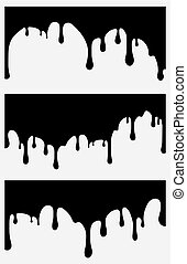Set of 3 black paint drips. Vector illustration for your design.