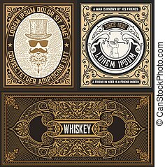 Set of 3 cards with vintage motives