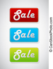 Set of 3 colored sale tags.
