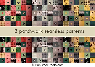 set of 3 colorful patchwork seamless patterns