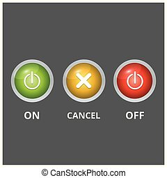 Set of 3 Coloured Buttons on Light Dark Grey Background