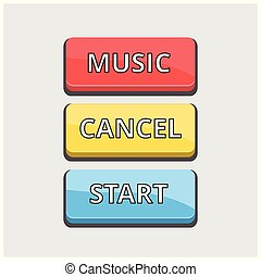 Set of 3 Coloured Buttons on Light Grey Background