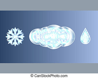 Set of 3 crystal weather emblems