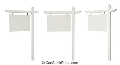 Set of 3 Different Angled Blank Real Estate Signs on White...