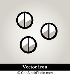 Set of 3 eye shadows isolated on grey background, vector...