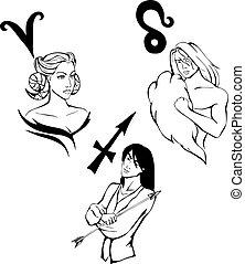 Set of 3 Fire Zodiac Signs