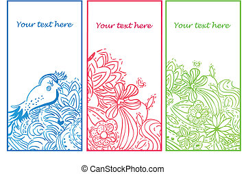 Set of 3 Floral Hand Drawn Banners