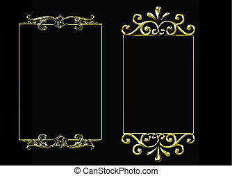 set of 3 golden vector frames