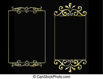 set of 3 golden vector frames
