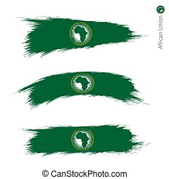 Set of 3 grunge textured flag of African Union