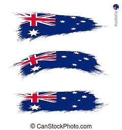 Set of 3 grunge textured flag of Australia