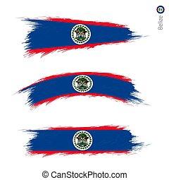 Set of 3 grunge textured flag of Belize