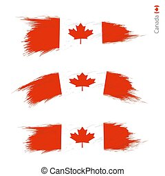 Set of 3 grunge textured flag of Canada
