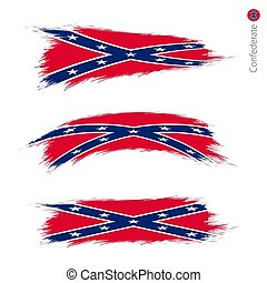 Set of 3 grunge textured flag of Confederate
