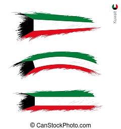 Set of 3 grunge textured flag of Kuwait, three versions of...