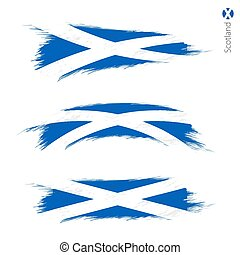 Set of 3 grunge textured flag of Scotland