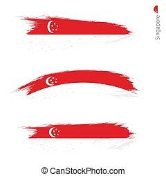 Set of 3 grunge textured flag of Singapore