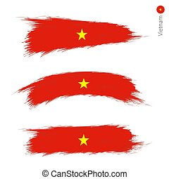 Set of 3 grunge textured flag of Vietnam