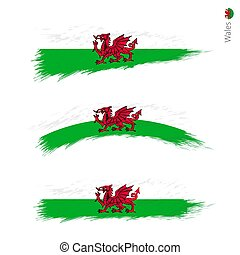Set of 3 grunge textured flag of Wales
