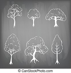 Set of 3 hand drawn trees