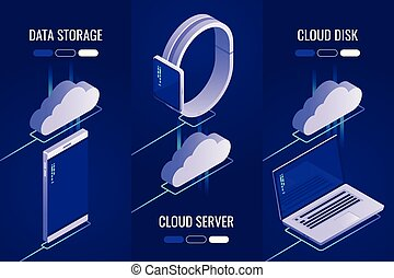 Set of 3 headers with cloud data storage .Uploading to a cloud server. Downloading from the cloud to drive. 3d Isometric style