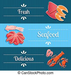 Set of 3 horizontal seafood banners with lobster, shrimps, tuna, salmon and so. Vector illustration, eps10.
