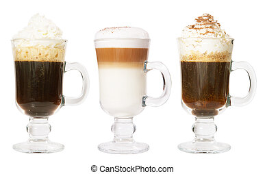 Set of 3 irish coffee isolated on white background