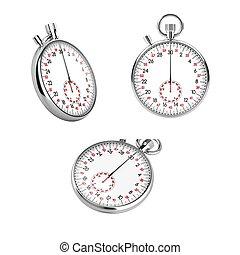 Set of 3 mechanical stopwatch chronometers