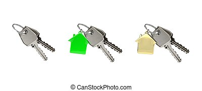 Set of 3 of two keys on a ring with house pendant