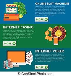 Set of 3 online gambling banners. Slot machines, casino, poker. vector concept illustrations.