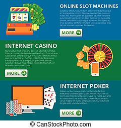 Set of 3 online gambling banners. Slot machines, casino, poker. vector concept illustrations.