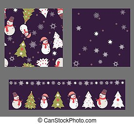 Set of 3 seamless patterns: 2 square and 1 spripe. They are made in Christmas Theme Colors. There are Christmas tree, snowman and snowflakes